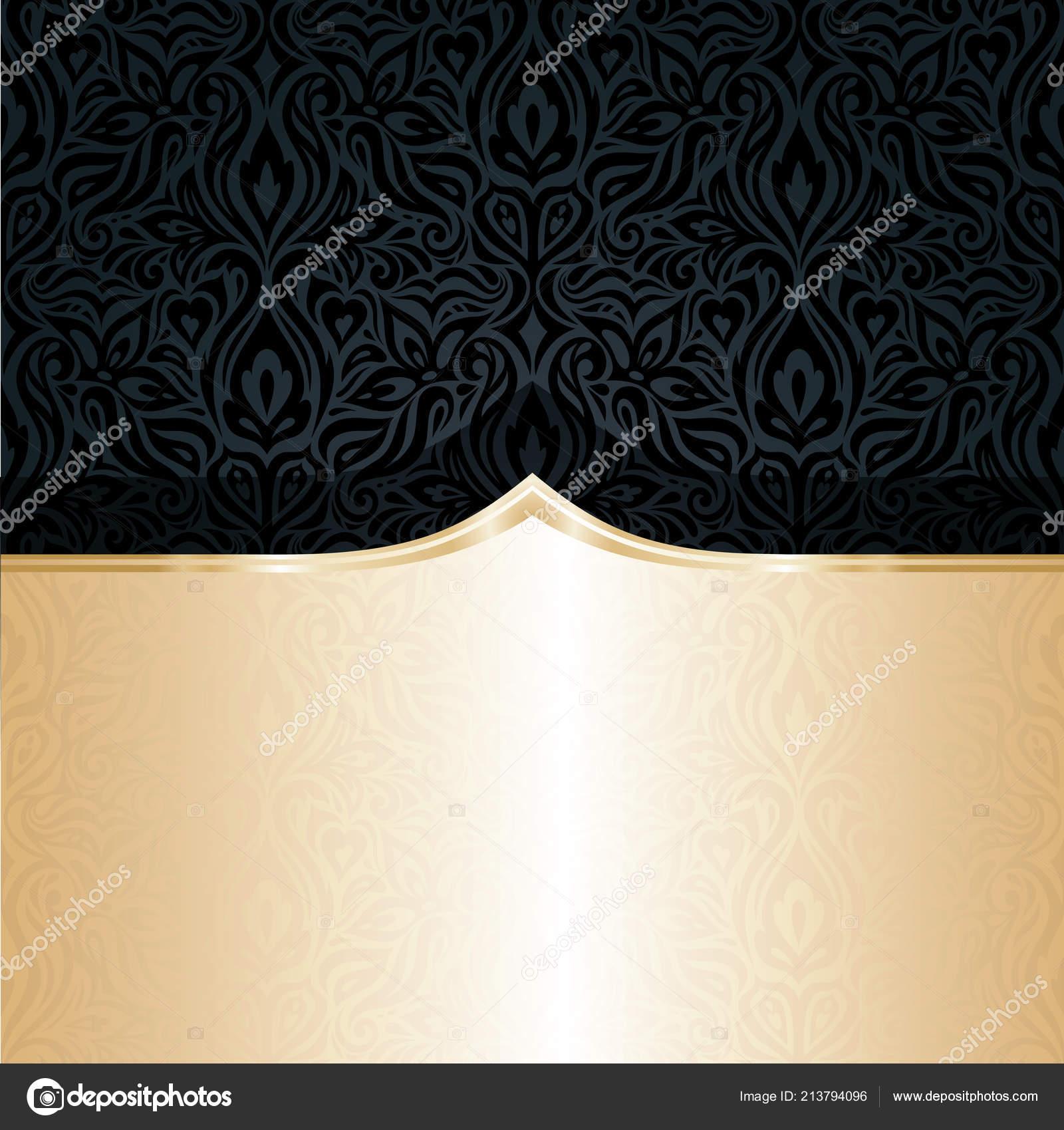 Carta Da Parati Di Lusso.Nero Decorativo Oro Disegno Sfondo Carta Parati Lusso Floreali Stile