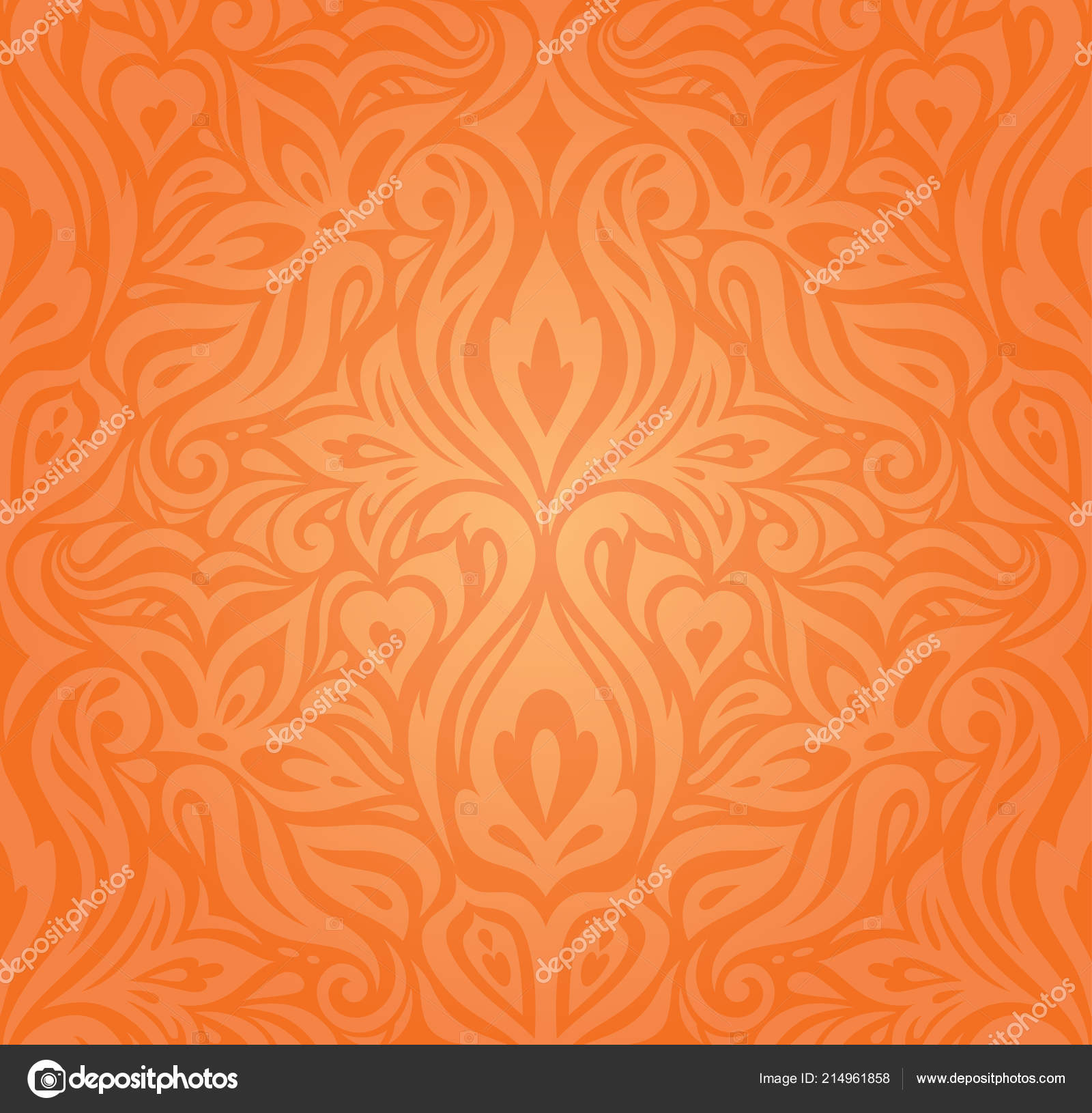 Floral Orange Retro Style Colorful Wallpaper Curvy Background