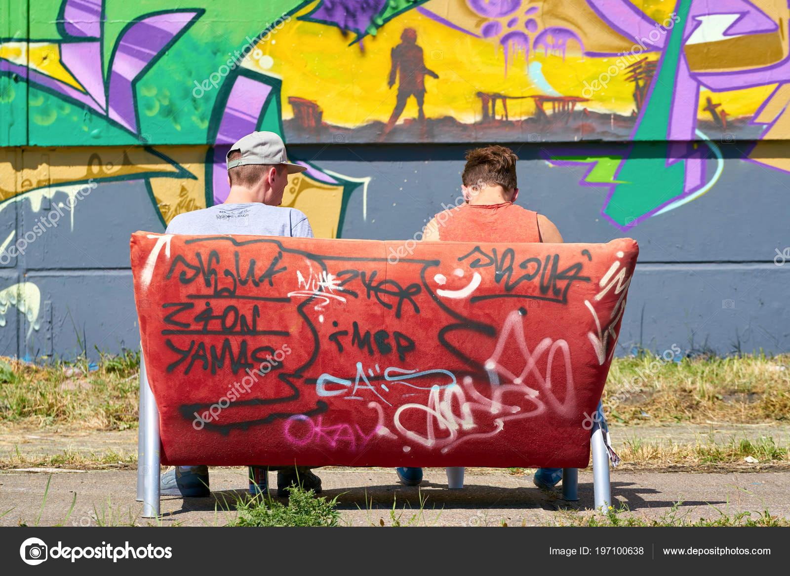 magdeburg germany may 2018 two graffiti artists ground aerosol arena