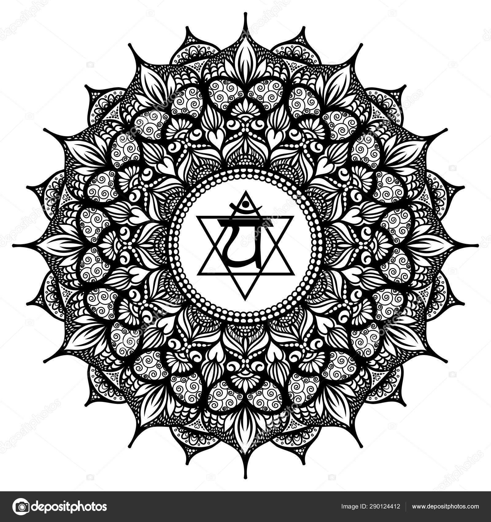 Heart Mandala Chakra Coloring Page Stock Photo Image By C Smk0473 290124412