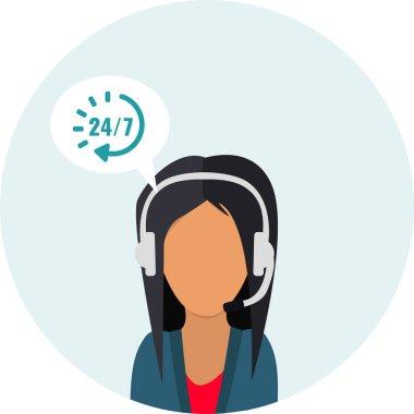 Call center service 24 hours. Operator consultant woman icon design.  Customer service icon. Vector illustrator