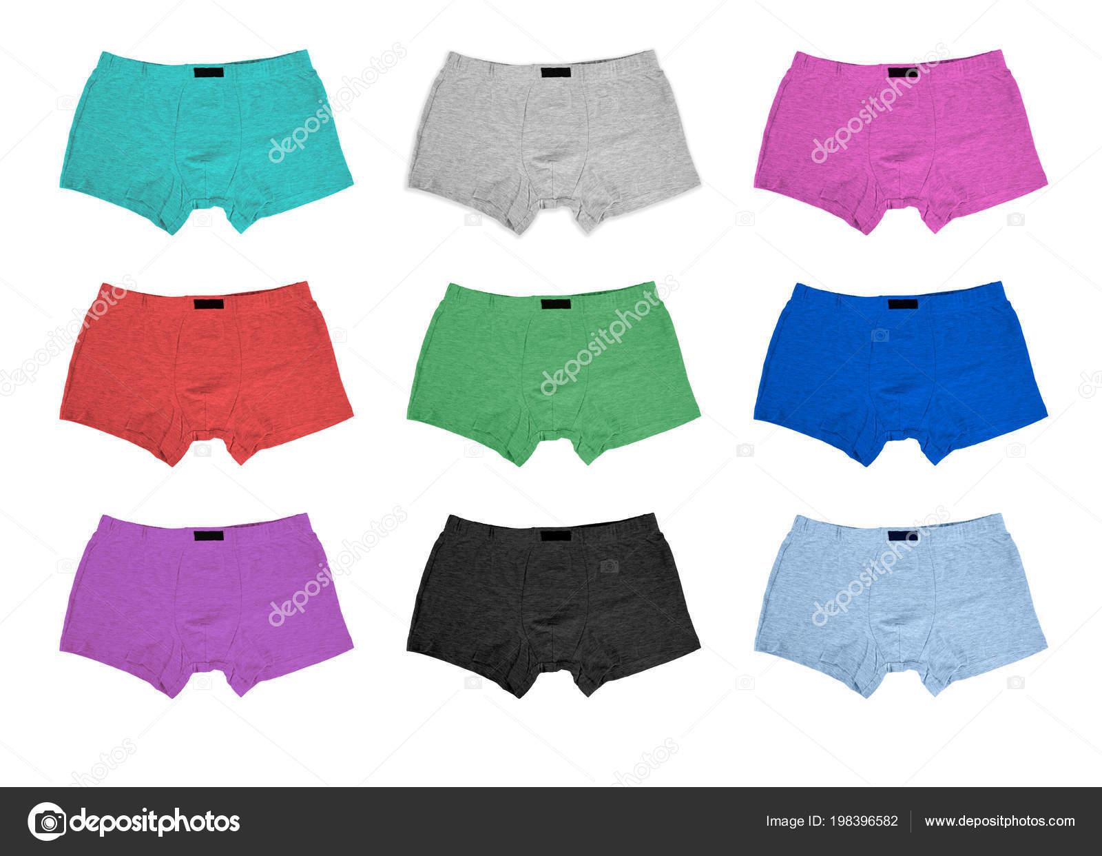 2574a3195 Conjunto de calcinha de algodão masculino no fundo branco — Fotografia de  Stock