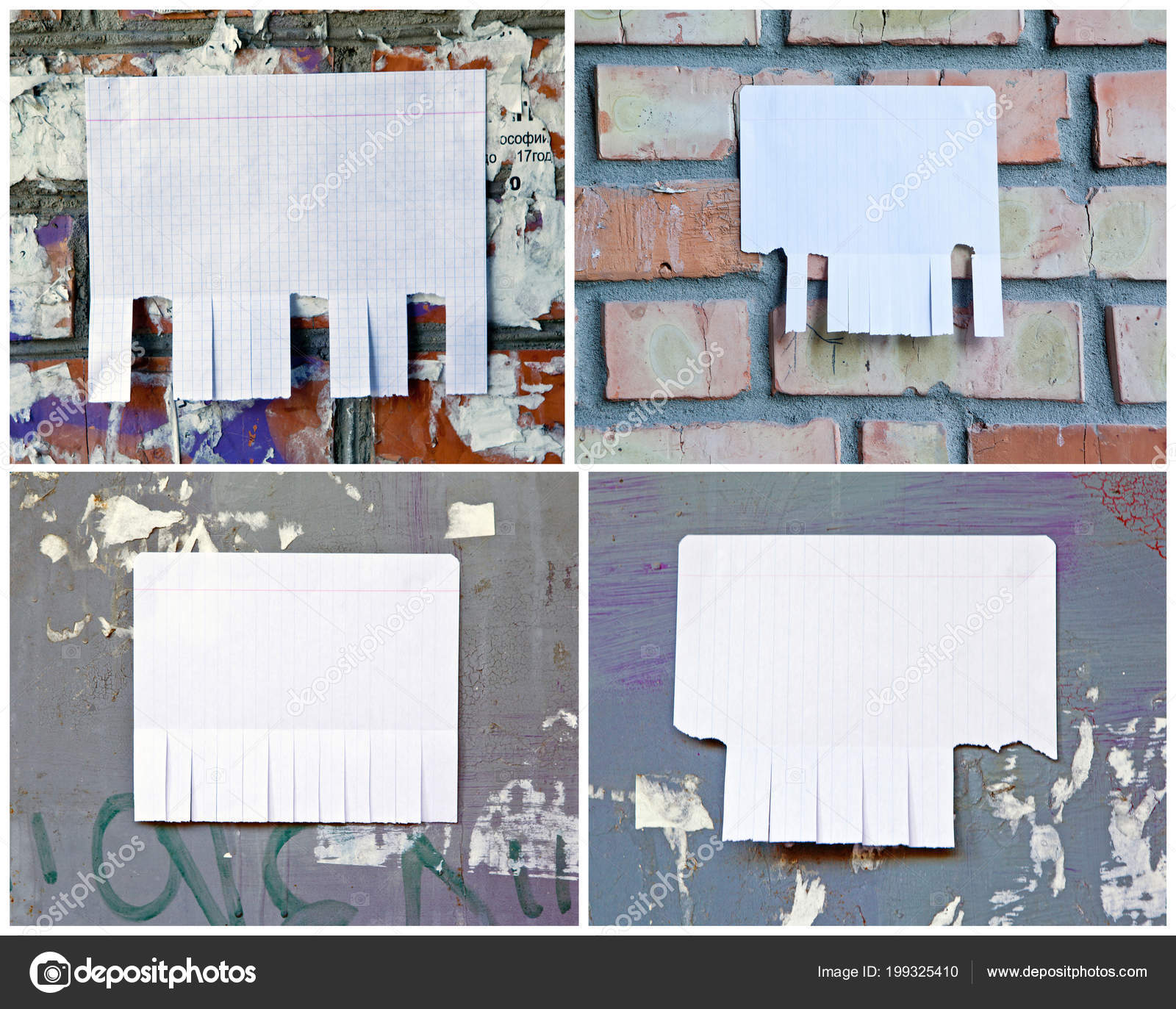 Blank white paper with tear off tabs — Stock Photo © fontgraf #199325410