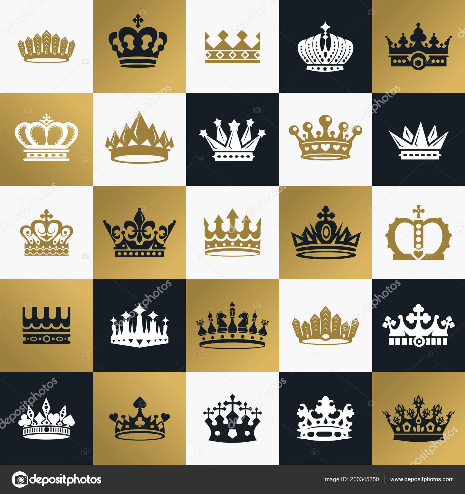 Símbolos De Coronas De Rey Y Reina Archivo Imágenes Vectoriales