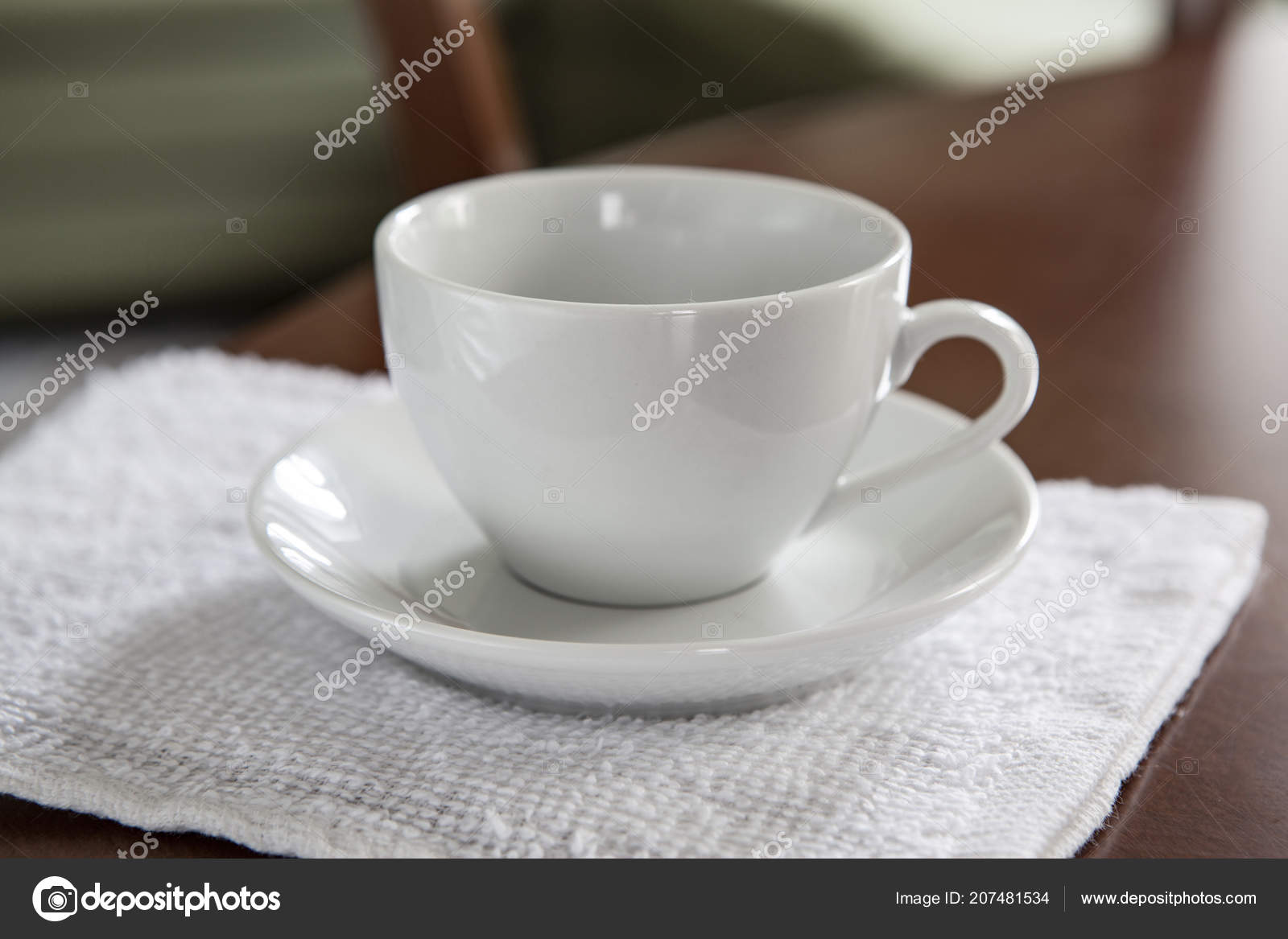 Empty White Cup Saucer Stand Wooden Table Stock Photo Fontgraf