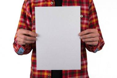 A man holding white letterhead