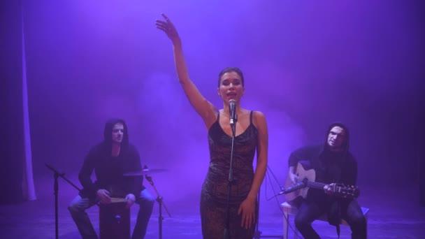 A zenekar teljesít a színpadon, a különböző színű fény, és füst a háttérben. Három zenész - énekes lány, dobos és gitáros zenélt a show alatt.