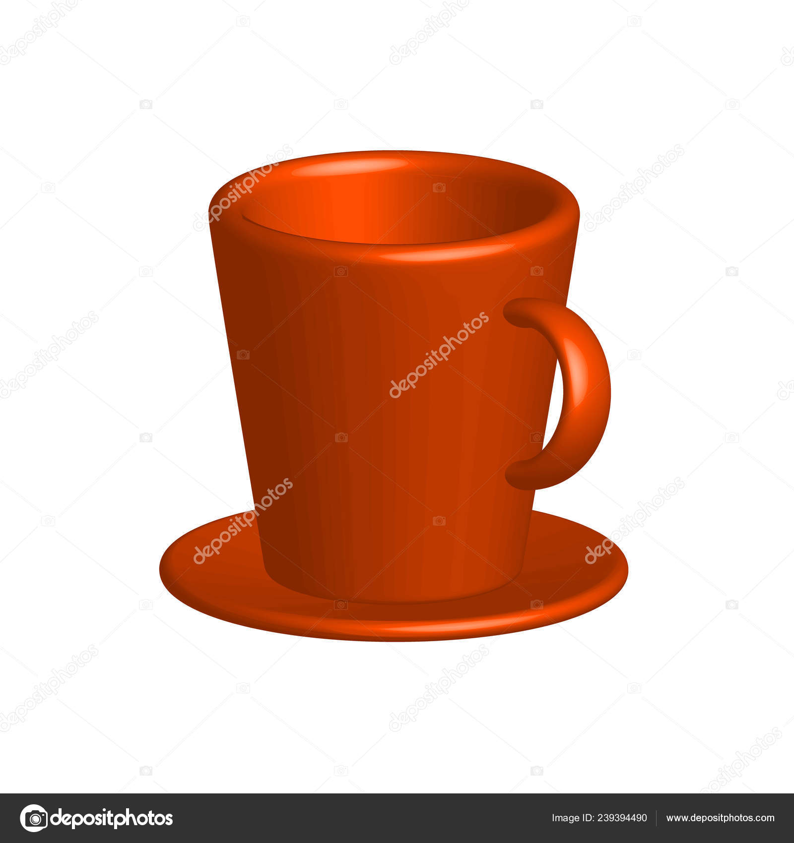 Realistic Colorful Drawing Bright Cup Saucer Isolated White Background Vector Image By C Kulish Ev79 Gmail Com Vector Stock 239394490