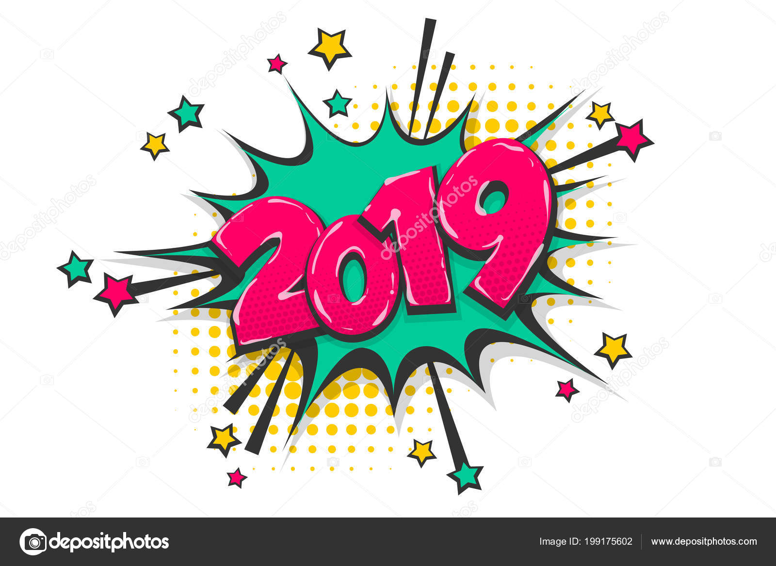 2019 year pop art comic book text speech bubble — Stock Vector ...