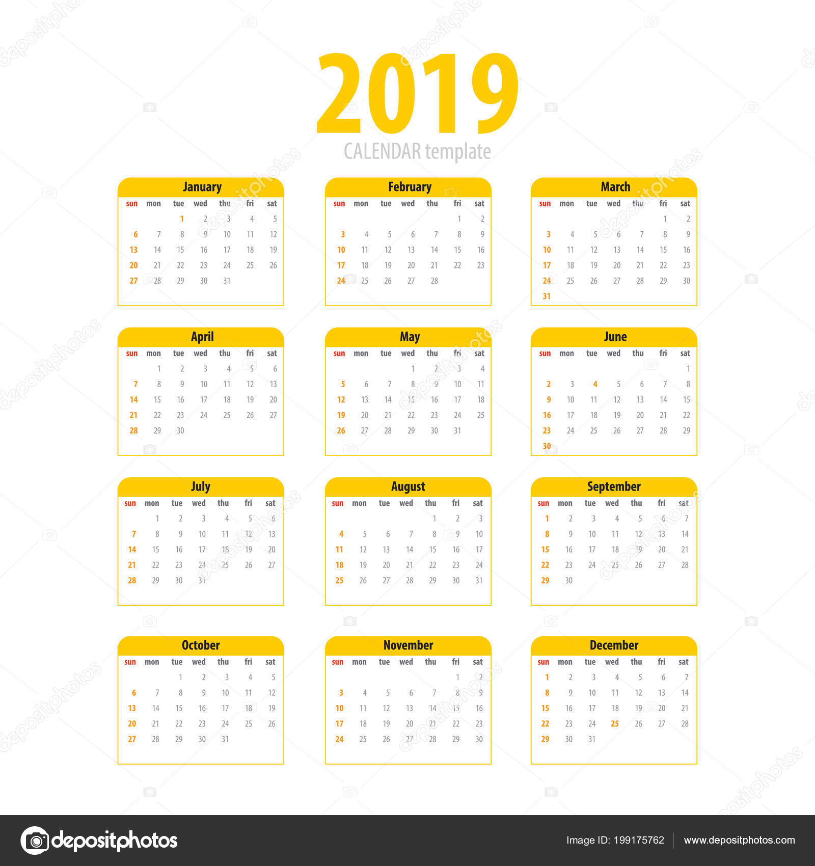 Printable calendar 2019 simple template — Stock Vector © helen tosh