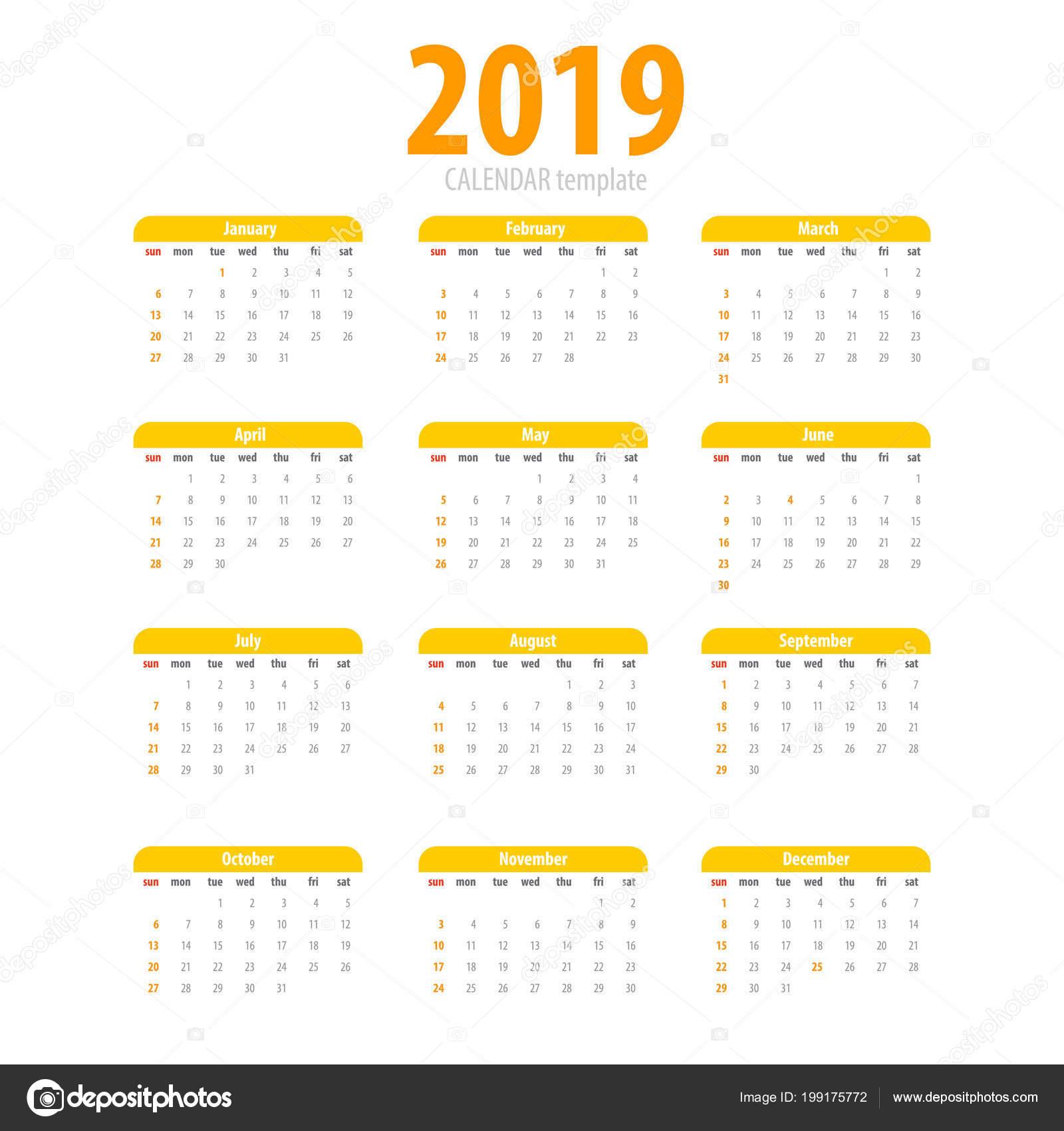 Calendario 2019 Moderno.Semplice Modello Stampabile Calendario 2019 Vettoriali