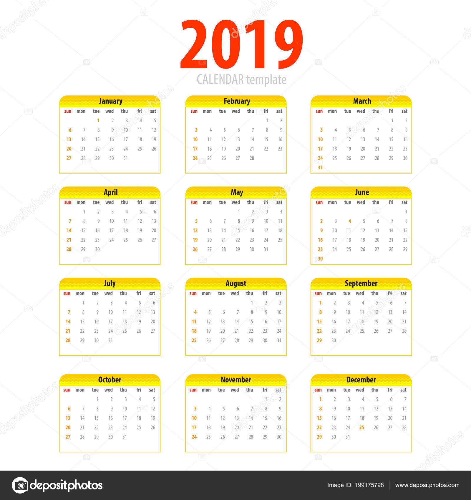 printable calendar 2019 simple template halftone pop art yellow pig colors eastern new year year month week day business planner schedule modern number
