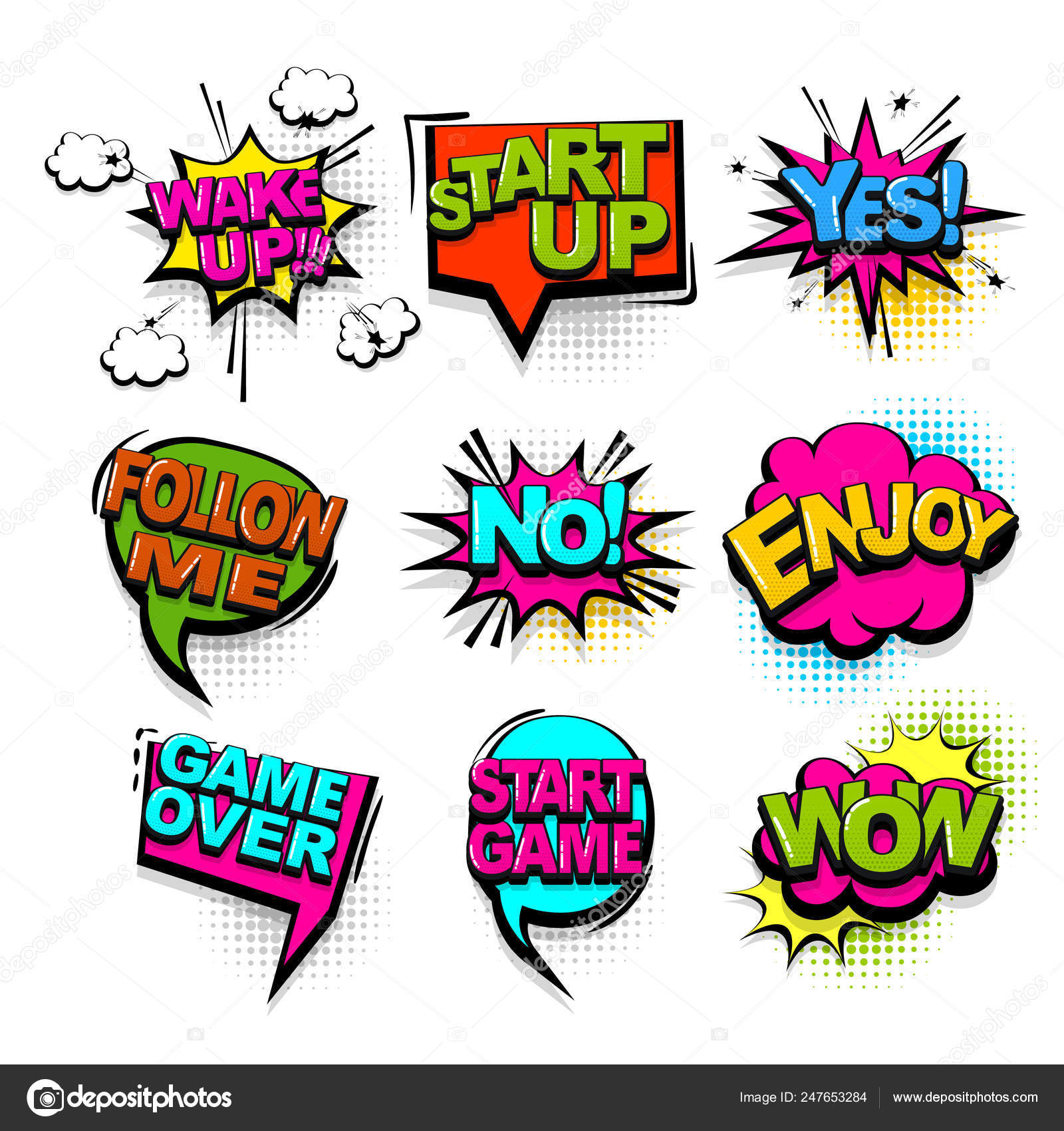Comic text collection sound effects pop art style — Stock