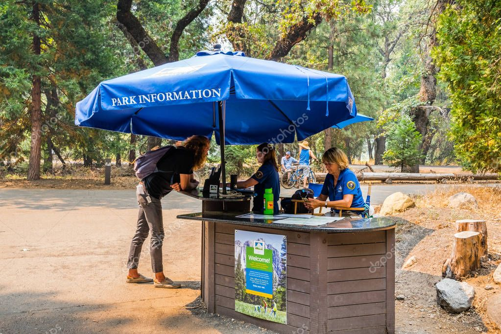 July 17, 2018 Yosemite Valley / CA / USA - Volunteers offering information to tourists in Yosemite National Park