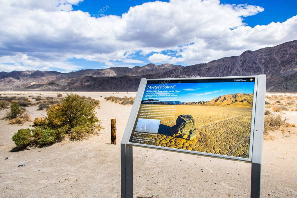 May 27, 2018 Death Valley / CA / USA - Information display providing facts about the Racetrack Playa