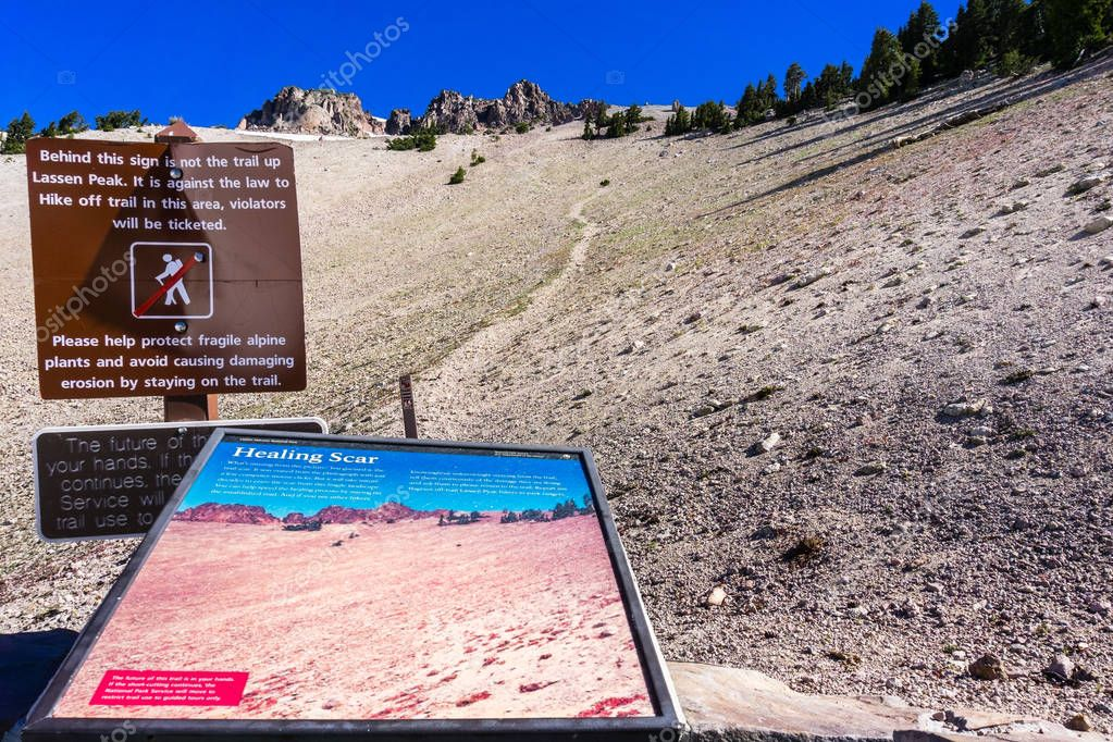 June 24, 2018 Mineral / CA / USA - Trail information panel about restoration and the interdiction of hiking off trail, located on the way to Lassen Peak; Lassen Volcanic National Park
