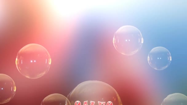 Animation of bubbles rising to the top. The text in the bubble. A soap bubble bursts.The background animation. colorfull