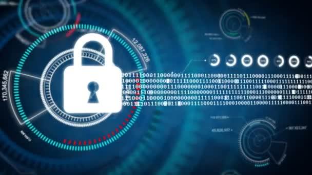 Abstraktní pozadí animace zámek bezpečnostní koncepce na Hud a kybernetické futuristické pozadí pro bezpečnost dat koncepce