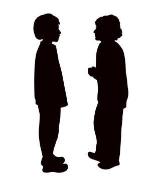 children making chat, silhouette vector