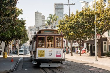 Traditional tram cars cable car on the streets of San Francisco, California, USA