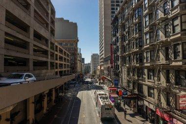Cars leave a parking lot at bush street in San Francisco, California, USA