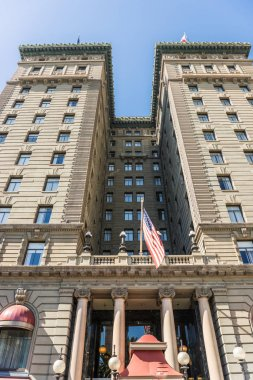 Detail of the facade of the The Westin St. Francis hotel on Union Square in San Francisco, California, USA