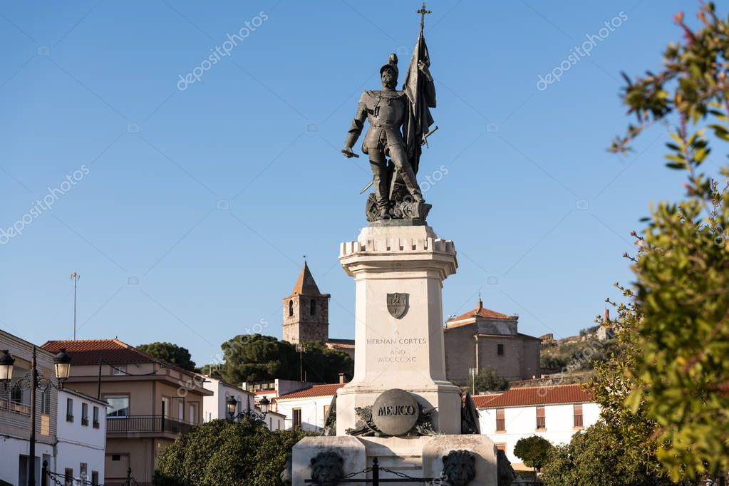 Statue of Spanish conquistador Hernan Cortes in the plaza of the same name in Medellin, Extremadura, Spain.