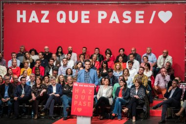 The Spanish Prime Minister and PSOE candidate in the next elections Pedro Sanchez in a party conference in Caceres.