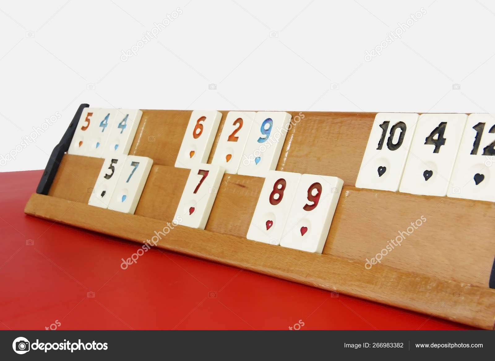 Traditional Turkish Game Okey Plastic Chips With Numbers On A