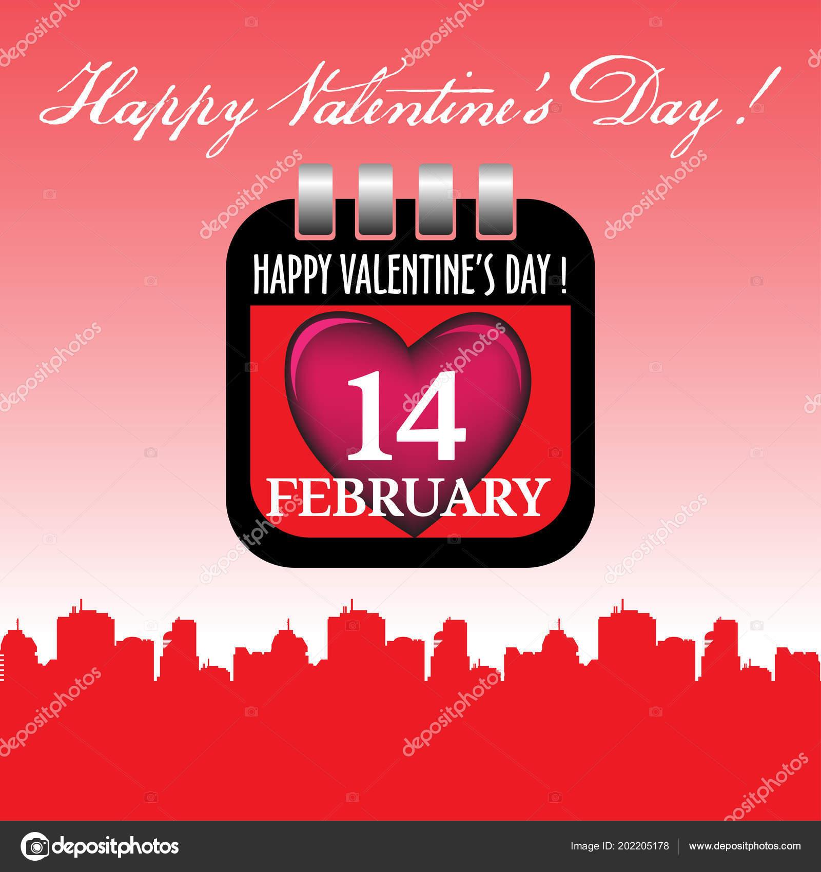 Calendar Sheet Pink Heart Date February Written White Valentine Day