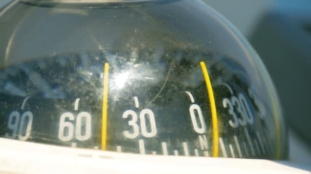 Closeup on sailing boats compass in plastic bowl filled with water. Filmed on sailing trip in Adriatic sea in slow motion hd.