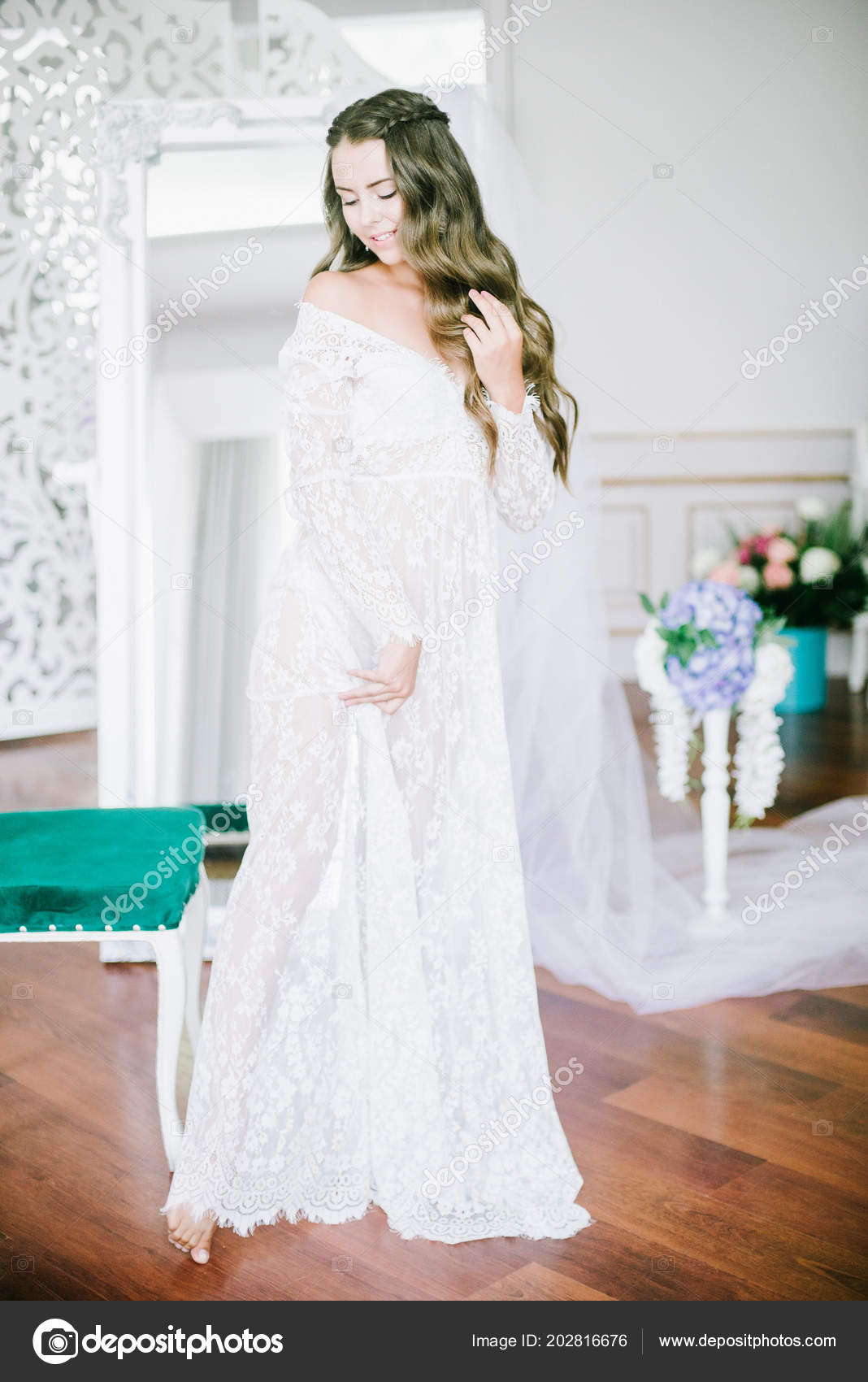 Beautiful Young Bride Long Blond Curly Hair Long White Lacy