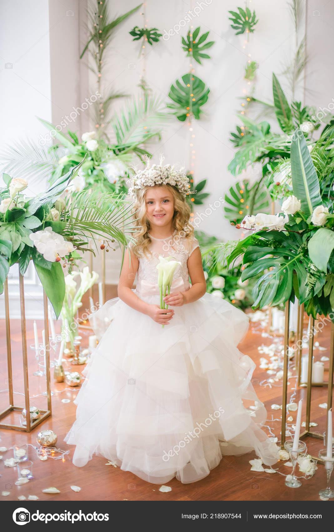 Cute Little Girl Blond Curly Hair White Wedding Dress Wreath