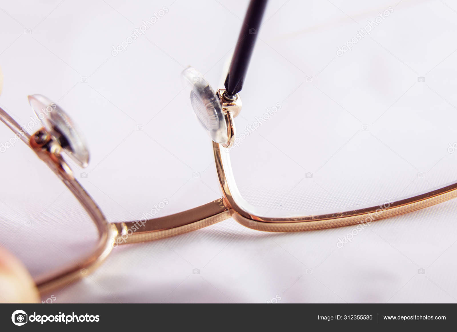 Repair Broken Glasses Work With A Screwdriver Tighten Bolts Stock Photo C Pavelgsv 312355580