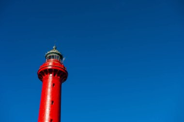 Aerial view of lighthouse of the coubre filmed by drone, La Tremblade Charente Maritime, France