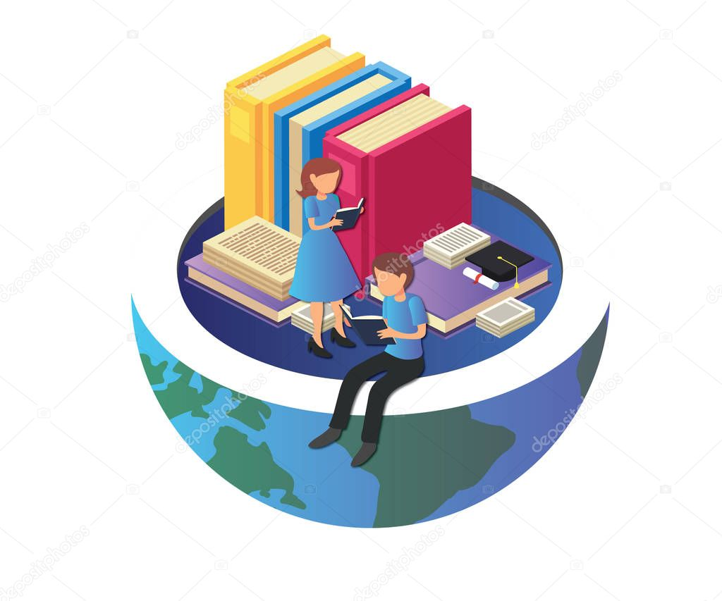 Children Studying where they are above the globe as it shows they are the future of the world, All this in a Isometric Artwork
