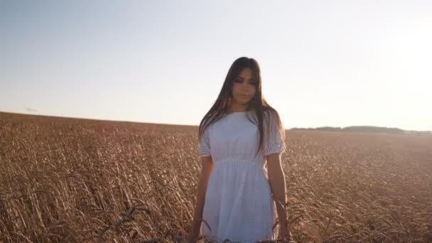 Fiatal gyönyörű lány fehér ruhában búzán sétál