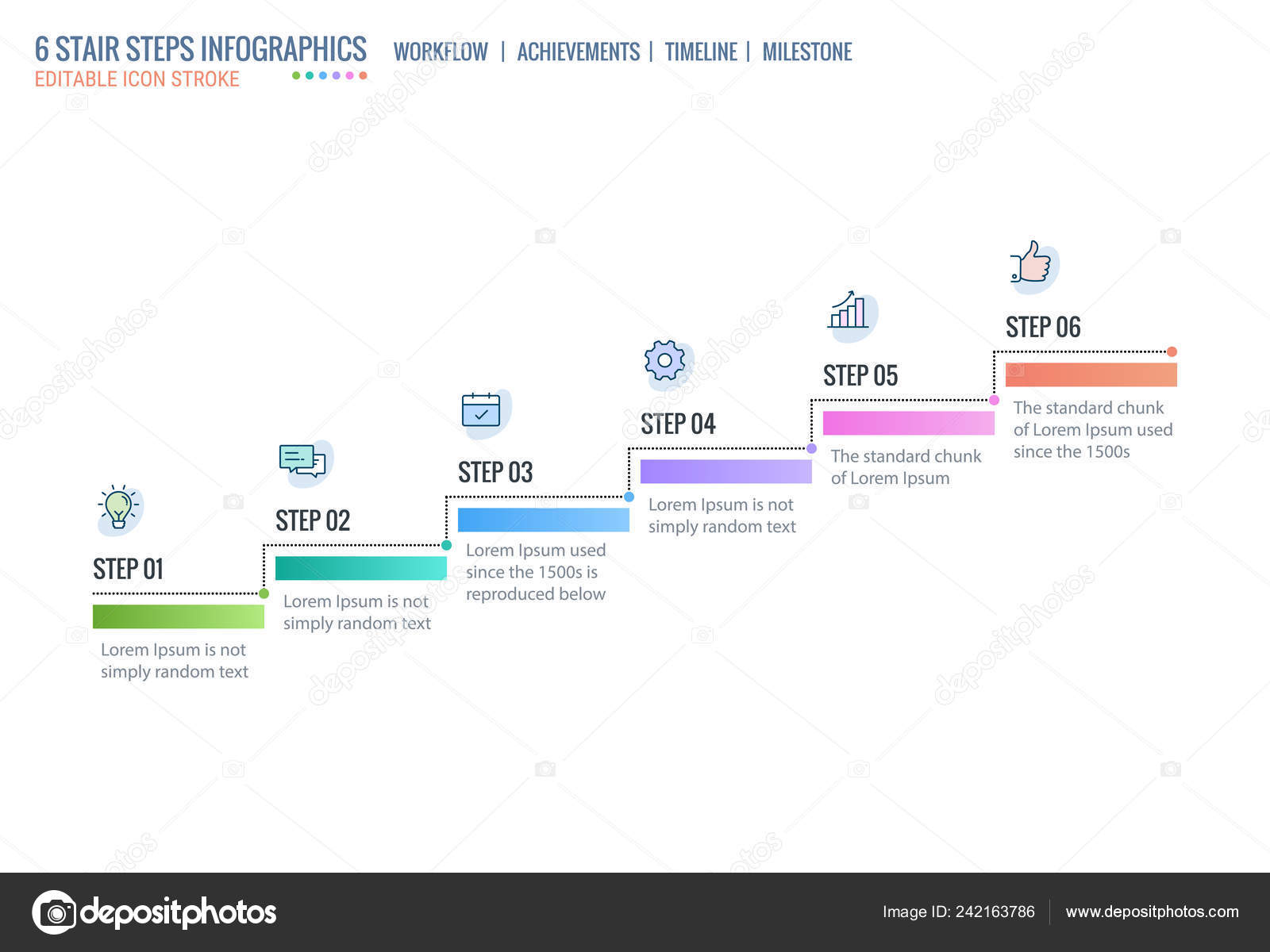 Stair Steps Achievement Ladder Timeline Infographics Template Start