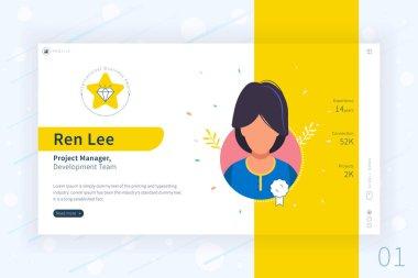 Achievements, Profile, Avatar, Portfolio, Social media, Certificate, Recruitment service, Feedback, ID card, professional layout interface