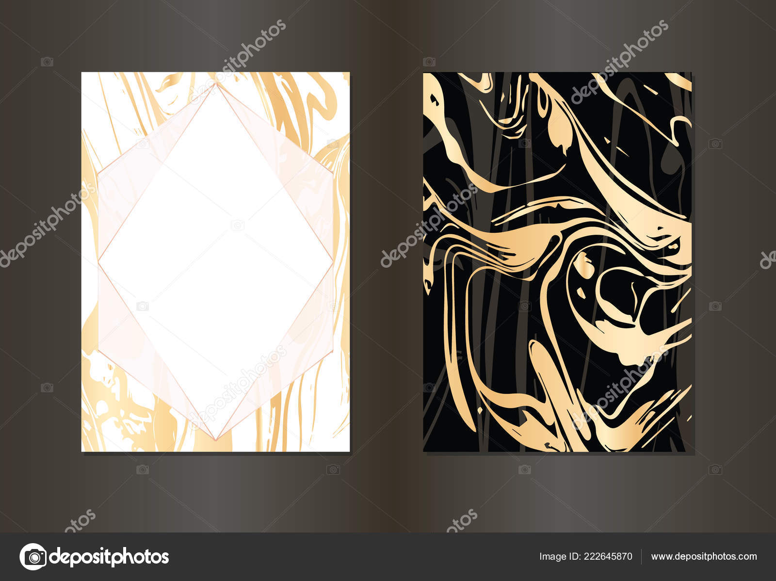 Set Of Vector Black And Gold Design Template For Party