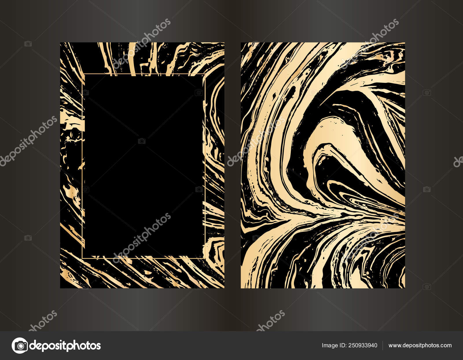 Set Of Vector Elegant Black And Gold Brochure Wedding