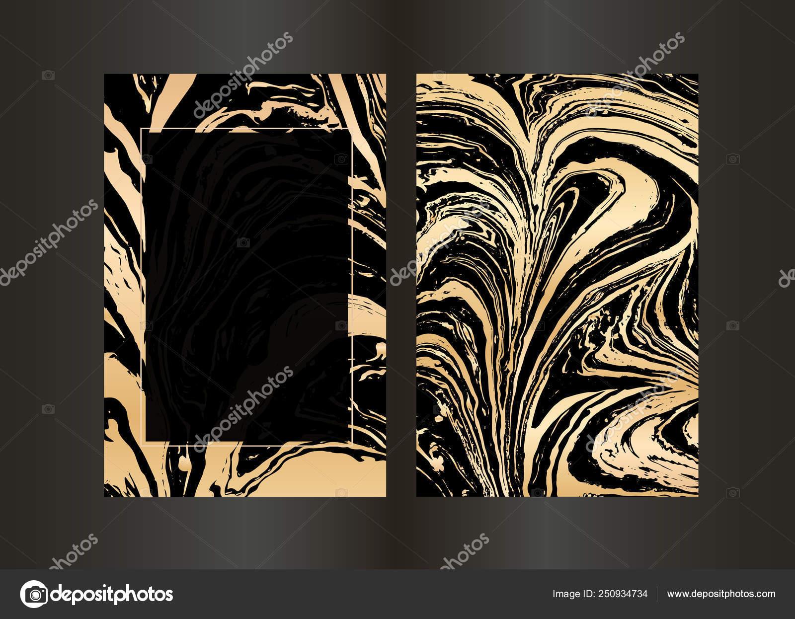 Sfondo Marmo Oro Set Di Vettore Elegante Nero E Oro Brochure