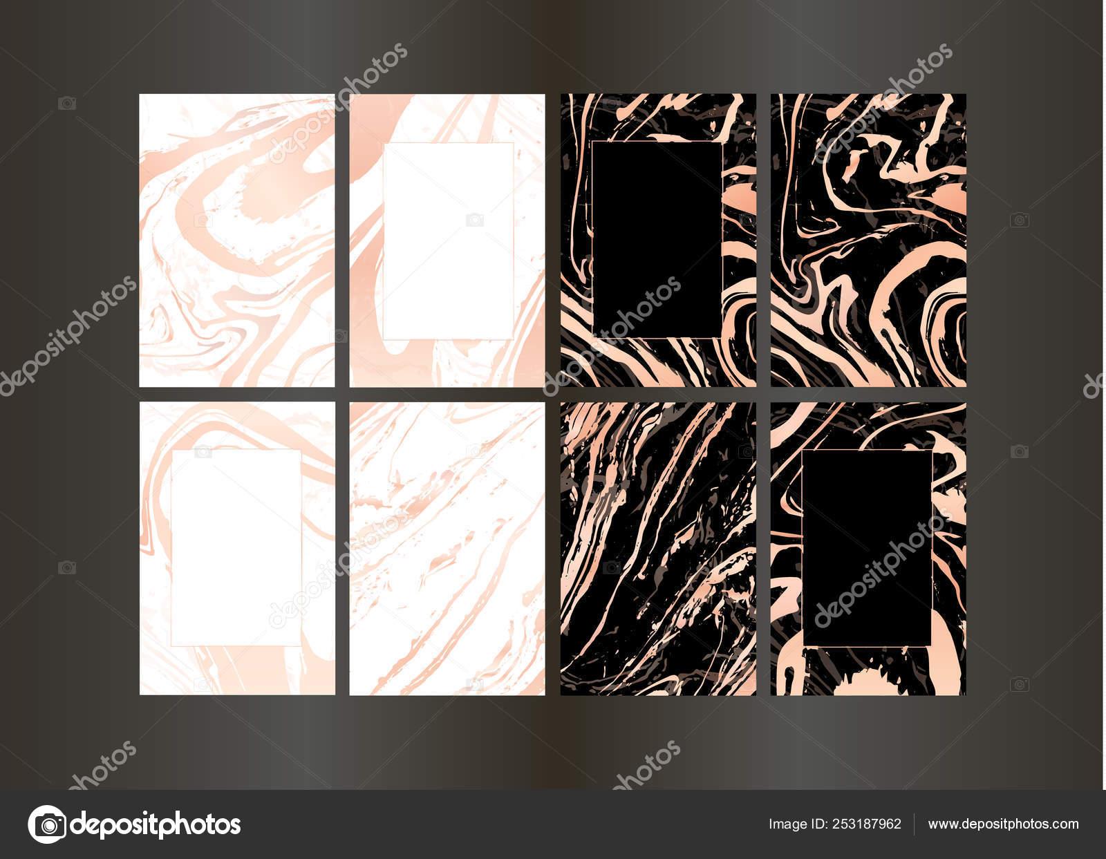 Set Di Vettore Elegante Nero E Oro Brochure Nozze Invito Carta