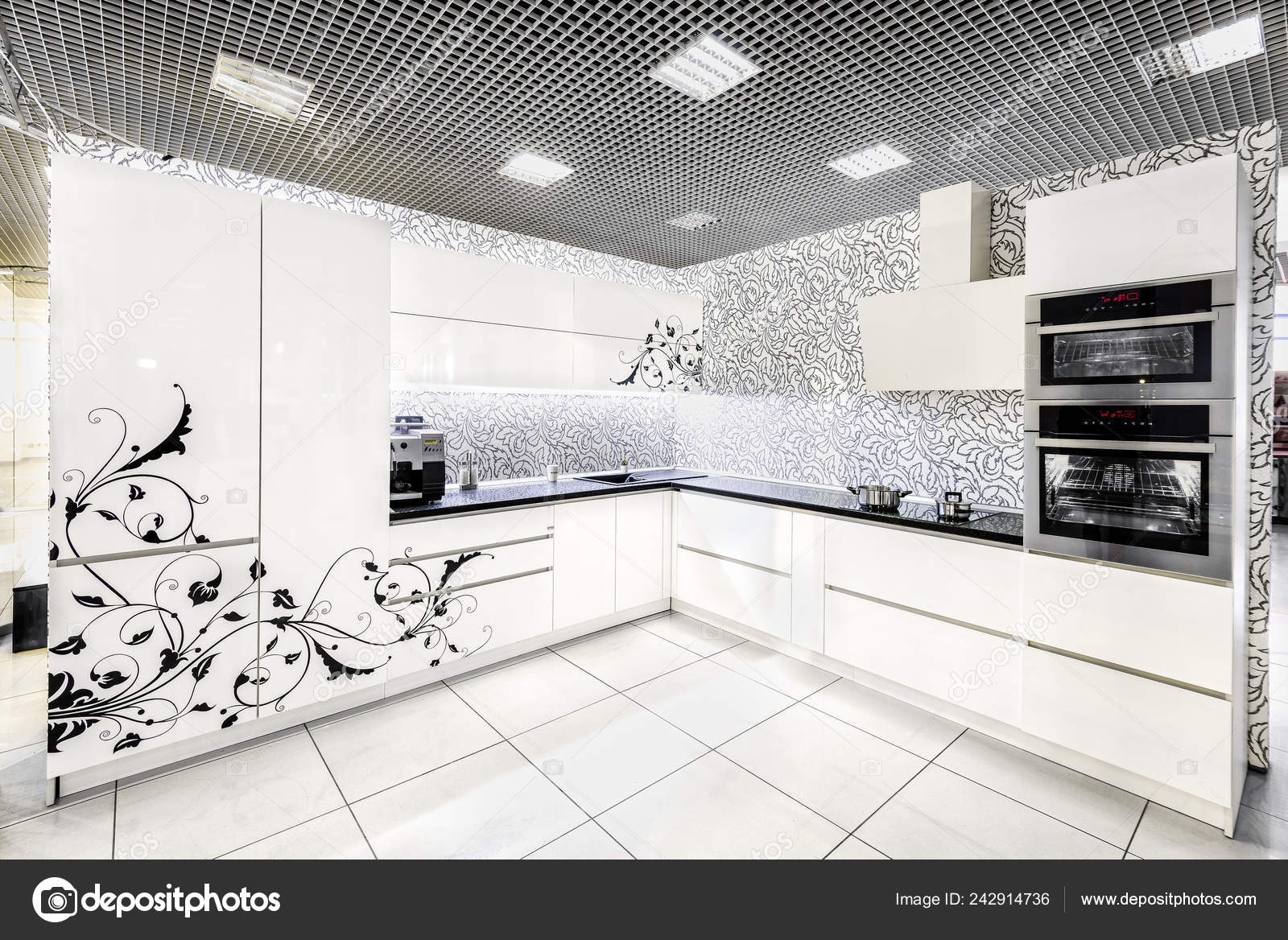 Picture Painted Kitchen Cabinets Modern White Kitchen Furniture Painted Front Surface Material Used Manufacture Stock Photo C Akhte Si 242914736