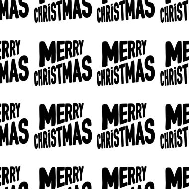 Seamless pattern made from Merry Christmas lettering. Isolated on white background. Vector stock illustration.
