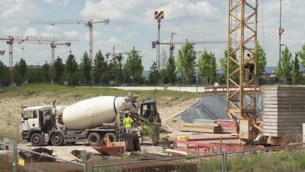 Construction Site Panorama With Cement Mixer Truck