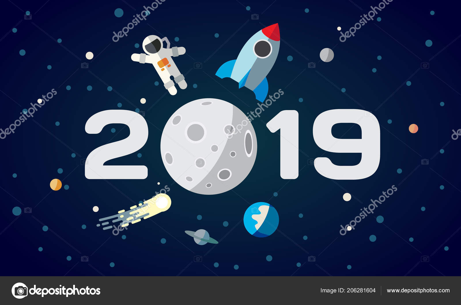 flat space theme illustration for calendar the astronaut and rocket on the moon background 2019 happy new year cover poster flyer