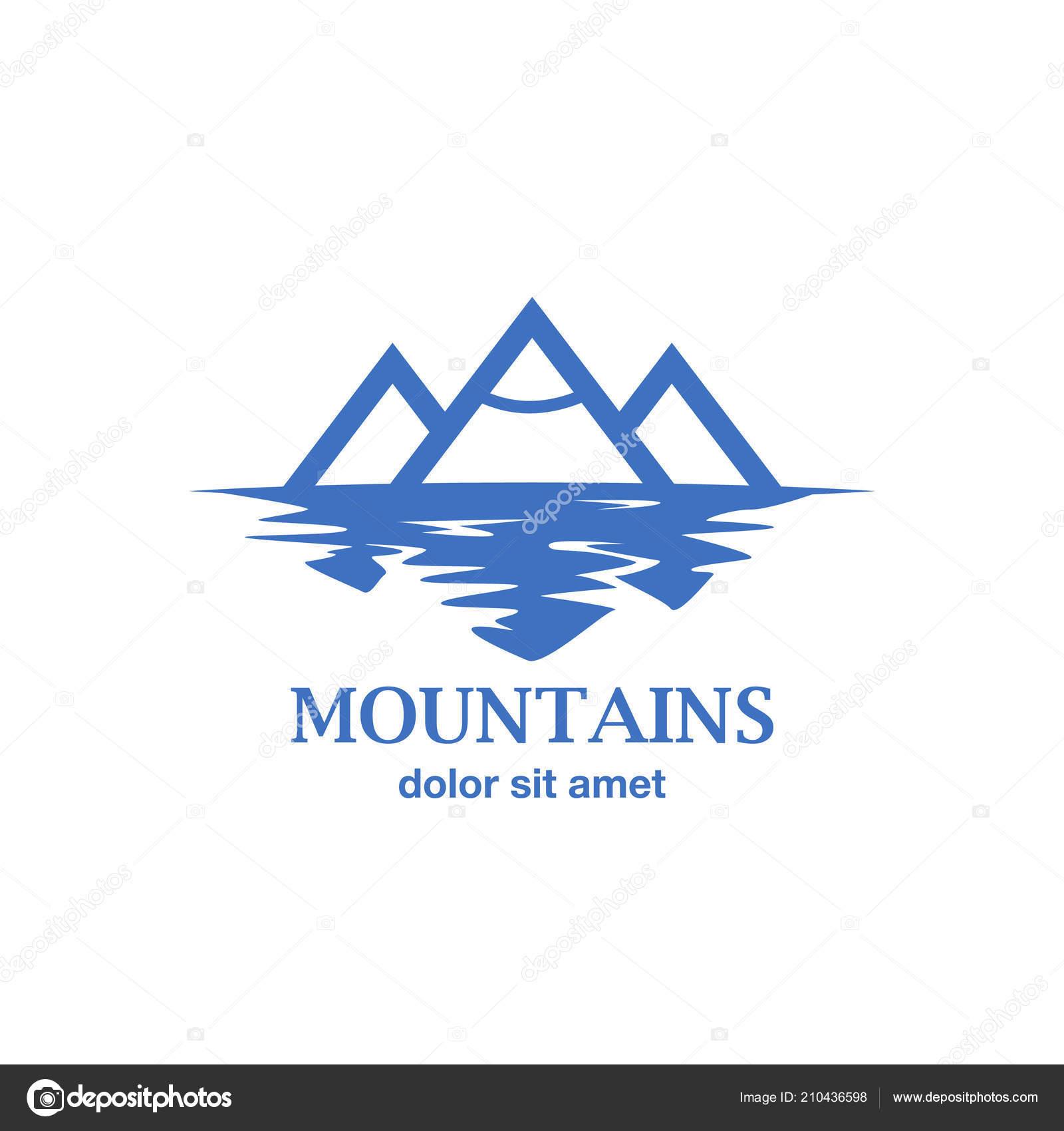 Abstrait Bleu Des Montagnes Avec Le Reflet Dans Lac Idee De Logo Pour La Carte Visite Identite Marque Et Dentreprise Illustration