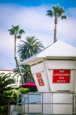 No Lifeguard on Duty Sign on a Life Guard Station in Laguna Beach, California