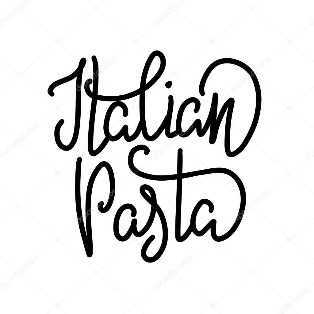 Vector Illustration Of Lettering For Pasta Restaurant Logo For Tasty Pasta Cafe Template Of Banner Or Poster For Pasta Cafe Or Restaurant Handwritten Calligraphy Made By Ink And Brush Eps 10